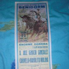 Tauromaquia: BENIDORM. CARTEL DE TOROS. PLAZA DE TOROS BENIDORM. IGNACIO GONZALEZ, CARMELO, MOLINA. 1984.. Lote 14616773