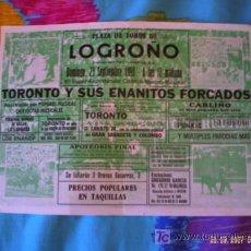 Tauromaquia: LOGROÑO. CARTEL DE TOROS. PLAZA DE TOROS LOGROÑO. ESPECTACULO COMICO-TAURINO-MUSICAL. 1990.. Lote 16043398