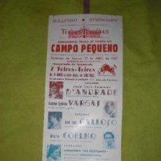 Tauromaquia: LISBOA. CARTEL DE TOROS. PRAÇA DE TOIROS DO CAMPO PEQUENO. VARGAS, GALLOSO, COELHO. 1987.. Lote 15114577