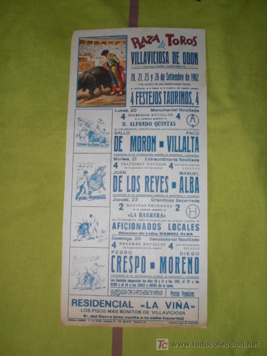 MADRID. CARTEL DE TOROS. PLAZA DE TOROS DE VILLAVICIOSA DE ODON. MORON, VILLALTA, CRESPO. 1982. (Coleccionismo - Tauromaquia)