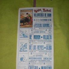 Tauromaquia: MADRID. CARTEL DE TOROS. PLAZA DE TOROS DE VILLAVICIOSA DE ODON. MORON, VILLALTA, CRESPO. 1982.. Lote 15114734