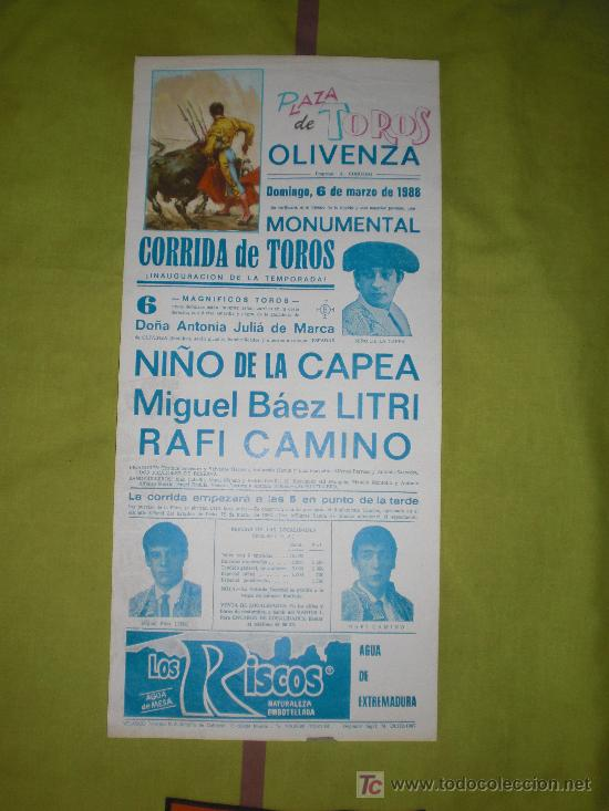 BADAJOZ. CARTEL DE TOROS. PLAZA DE TOROS DE OLIVENZA. NIÑO DE LA CAPEA, LITRI, CAMINO. 1988. (Coleccionismo - Tauromaquia)