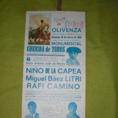 Tauromaquia: BADAJOZ. CARTEL DE TOROS. PLAZA DE TOROS DE OLIVENZA. NIÑO DE LA CAPEA, LITRI, CAMINO. 1988.. Lote 15115079