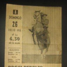 Tauromaquia: CARTEL DE TOROS. PLAZA DE TOROS DE CADIZ. 1953. ANGEL PERALTA. MONTENEGRO. RAYITO. PEPIN JIMENEZ. . Lote 15129324