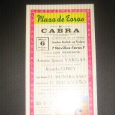 Tauromaquia: CARTEL DE TOROS. PLAZA DE TOROS DE CABRA. 1973. VARGAS. COREY. EL MONTILLANO. EL MALAGUEÑO. . Lote 15242244