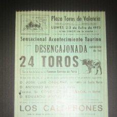 Tauromaquia: CARTEL DE TOROS. PLAZA DE TOROS DE VALENCIA. 1973. ESPECTACULO COMICO TAURINO MUSICAL. . Lote 15242366