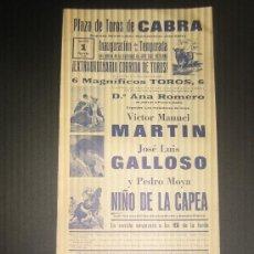 Tauromaquia: CARTEL DE TOROS. PLAZA DE TOROS DE CABRA. 1975. MARTIN. GALLOSO. NIÑO DE LA CAPEA. . Lote 15243908