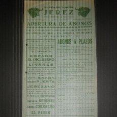 Tauromaquia: CARTEL DE TOROS. PLAZA DE TOROS DE JEREZ. 1965. COPANO. EL INCLUSERO. LINARES. OSTOS. PUERTA. . Lote 15340104