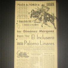 Tauromaquia: CARTEL DE TOROS. PLAZA DE TOROS DE CARTAGENA. 1965. GIMENEZ MARQUEZ. EL INCLUSERO. PALOMO LINARES.. Lote 15340414