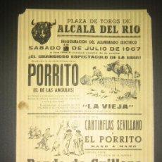 Tauromaquia: CARTEL DE TOROS. PLAZA DE TOROS DE ALCALA DEL RIO. 1967. GRANDIOSO ESPECTACULO DE LA RISA.. Lote 46608154