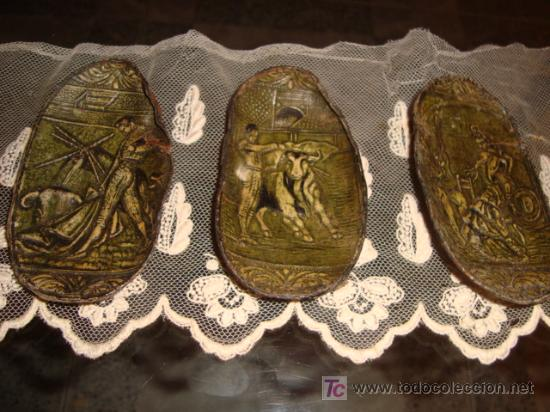 3 PRECIOSAS OREJAS DE TORO, CON MOTIVOS TAURINOS Y FLAMENCOS REPUJADOS, Y PERFILADOS, TARSIDERMISTAS (Coleccionismo - Tauromaquia)