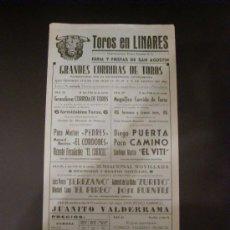 Tauromaquia: CARTEL DE TOROS. PLAZA DE TOROS DE LINARES. 1963. PEDRES. EL CORDOBES. EL CARACOL. PUERTA. CAMINO. . Lote 15449021