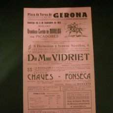 Tauromaquia: CARTEL DE TOROS. PLAZA DE TOROS DE GERONA. 1963. VIDRIET. CHAVES. FONSECA. . Lote 15452458