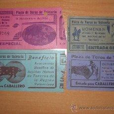 Tauromaquia: CUATRO ENTRADAS DE VALENCIA AÑOS 40-50. Lote 26501682