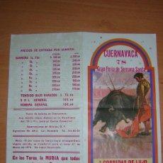 Tauromaquia: PROGRAMA DE TOROS DE CUERNAVACA 1978. Lote 27451295