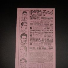 Tauromaquia: CARTEL DE TOROS. PLAZA DE TOROS DE GUADALAJARA. 1968. PUERTA. EL VITI. EL CORDOBES. DE LA SERNA.. Lote 16065954