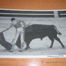 Tauromaquia: FOTOGRAFIA ORIGINAL DE MANUEL RODRIGUEZ (MANOLETE)SELLO DE BALDOMERO CORRIDA DE BENEFICENCIA 1947. Lote 23729633
