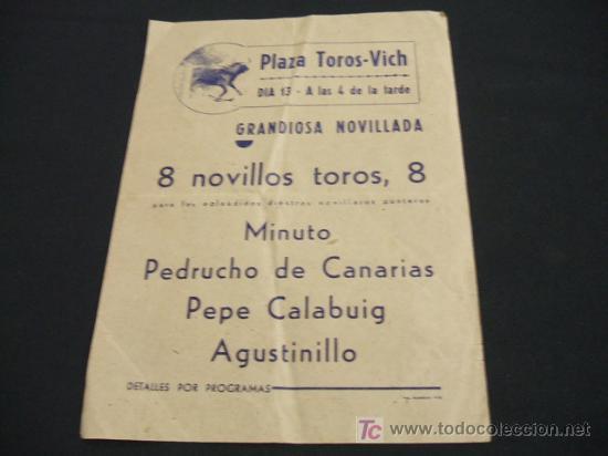 Folleto Plaza Toros Vich Dia 13 A Las 4 De Comprar Tauromaquia