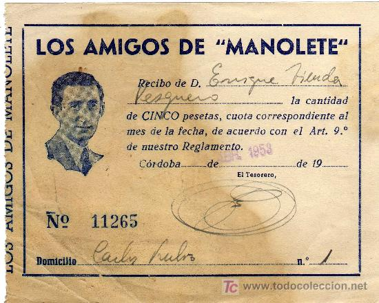 RARO RECIBO - PEÑA LOS AMIGOS DE MANOLETE - CORDOBA - ABRIL 1953 (Coleccionismo - Tauromaquia)