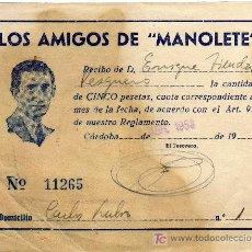 Tauromaquia: RARO RECIBO - PEÑA LOS AMIGOS DE MANOLETE - CORDOBA - ABRIL 1953. Lote 22287249