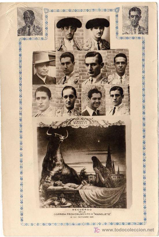 EXTRAORDINARIO - RECUERDO DE LA CORRIDA PROMONUMENTO A MANOLETE (TORERO) - 21 DE OCTUBRE 1951 (Coleccionismo - Tauromaquia)