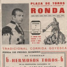 Tauromaquia: CARTEL (48X23) PLAZA DE TOROS DE RONDA 1972. CORRIDA GOYESCA. . Lote 17910289