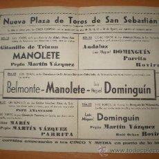 Tauromaquia: PROGRAMA DE TOROS UNA DE SUS ULTIMAS CORRIDAS MANOLETE 1947 SAN SEBASTIAN. Lote 26819973