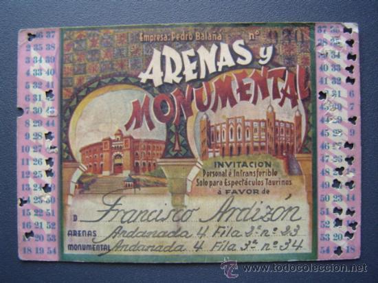 PASE TEMPORADA 1946 - BARCELONA - PLAZAS DE TOROS MONUMENTAL Y ARENAS (Coleccionismo - Tauromaquia)