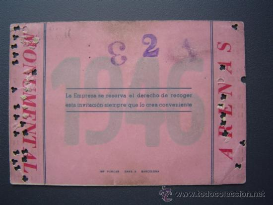 Tauromaquia: PASE TEMPORADA 1946 - BARCELONA - PLAZAS DE TOROS MONUMENTAL Y ARENAS - Foto 2 - 26856013
