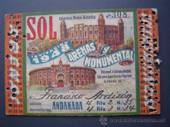 PASE TEMPORADA 1948 - BARCELONA - PLAZAS DE TOROS MONUMENTAL Y ARENAS (Coleccionismo - Tauromaquia)