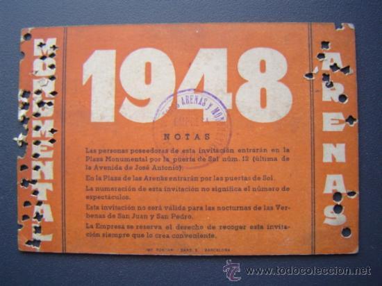 Tauromaquia: PASE TEMPORADA 1948 - BARCELONA - PLAZAS DE TOROS MONUMENTAL Y ARENAS - Foto 2 - 26856014