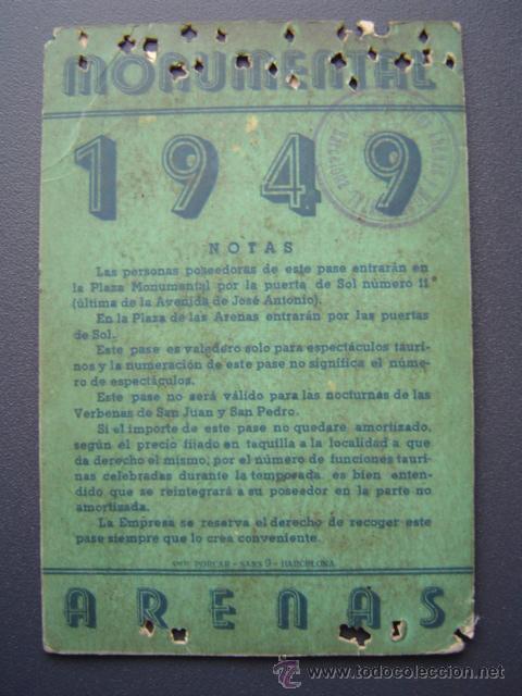 Tauromaquia: PASE TEMPORADA 1949 - BARCELONA - PLAZAS DE TOROS MONUMENTAL Y ARENAS - Foto 2 - 26856015