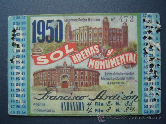PASE TEMPORADA 1950 - BARCELONA - PLAZAS DE TOROS MONUMENTAL Y ARENAS (Coleccionismo - Tauromaquia)