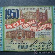 Tauromaquia: PASE TEMPORADA 1950 - BARCELONA - PLAZAS DE TOROS MONUMENTAL Y ARENAS. Lote 26809420