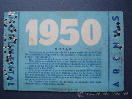 Tauromaquia: PASE TEMPORADA 1950 - BARCELONA - PLAZAS DE TOROS MONUMENTAL Y ARENAS - Foto 2 - 26809420