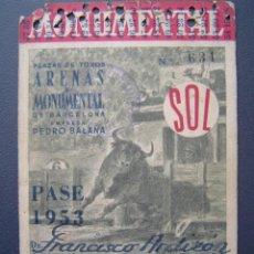 Tauromaquia: PASE TEMPORADA 1953 - BARCELONA - PLAZAS DE TOROS MONUMENTAL Y ARENAS. Lote 26470787