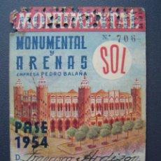 Tauromaquia: PASE TEMPORADA 1954 - BARCELONA - PLAZAS DE TOROS MONUMENTAL Y ARENAS. Lote 26809423
