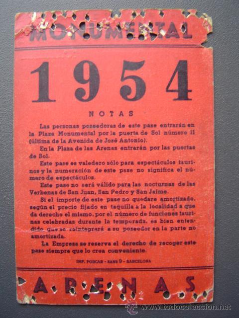 Tauromaquia: PASE TEMPORADA 1954 - BARCELONA - PLAZAS DE TOROS MONUMENTAL Y ARENAS - Foto 2 - 26809423