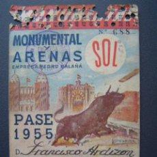Tauromaquia: PASE TEMPORADA 1955 - BARCELONA - PLAZAS DE TOROS MONUMENTAL Y ARENAS. Lote 26809424