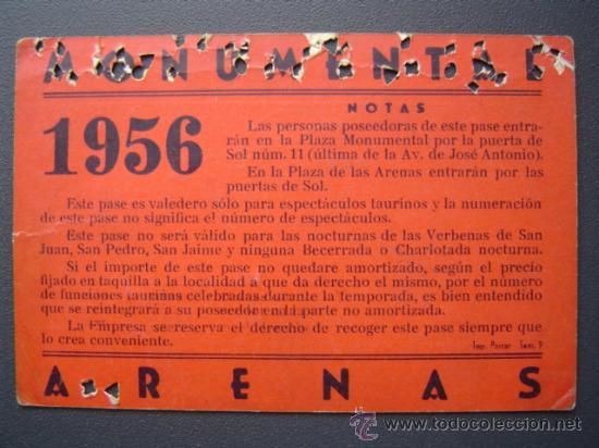 Tauromaquia: PASE TEMPORADA 1956 - BARCELONA - PLAZAS DE TOROS MONUMENTAL Y ARENAS - Foto 2 - 26809425