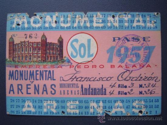 PASE TEMPORADA 1957 - BARCELONA - PLAZAS DE TOROS MONUMENTAL Y ARENAS (Coleccionismo - Tauromaquia)
