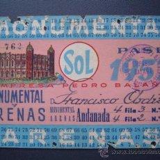 Tauromaquia: PASE TEMPORADA 1957 - BARCELONA - PLAZAS DE TOROS MONUMENTAL Y ARENAS. Lote 26832909