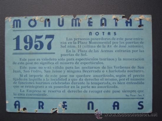 Tauromaquia: PASE TEMPORADA 1957 - BARCELONA - PLAZAS DE TOROS MONUMENTAL Y ARENAS - Foto 2 - 26832909