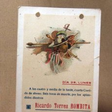 Tauromaquia: TARJETA PUBLICITARIA, PEQUEÑO CARTEL, CORRIDA DE TOROS, BOMBITA, MACHAQUITO, GALLITO CHICO. Lote 34327278