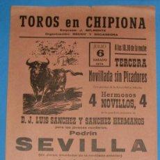 Tauromaquia: CARTEL DE TOROS. PLAZA DE TOROS DE CHIPIONA. 6 DE JULIO DE 1974.. Lote 20351656