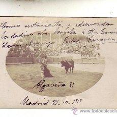 Tauromaquia: ALGABEÑO MADRID 1919 DEDICADA Y FIRMADA. Lote 20552100