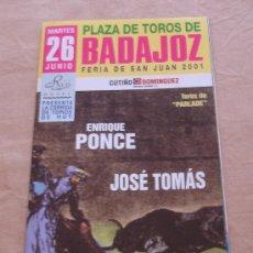 Tauromaquia: PLAZA DE TOROS BADAJOZ - FERIA DE SAN JUAN 2001. - FOLLETO PUBLICITARIO.. Lote 20972505