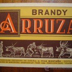 Tauromaquia: TARJETA PUBLICITARIA DE BRANDY ARRUZA CON MOTIVOS TAURINOS. Lote 27183799