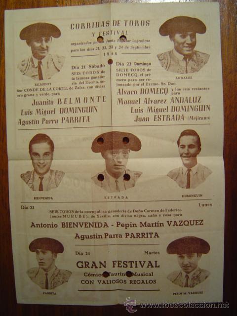 Tauromaquia: LOGROÑO 1946 - Programa de Toros de FERIAS y Fiestas de San Mateo - Desplegable - Foto 2 - 27183800
