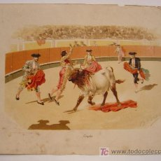 Tauromaquia - PRECIOSA LITOGRAFIA - HACIA LOS AÑOS 1890 - ILUSTR.: DANIEL PEREA - COGIDA - 21229080